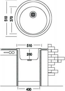Гранитная мойка Argo Tondo 510 черная круглая