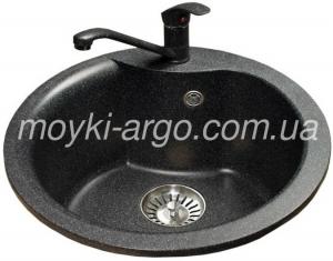 Гранитная мойка Argo Round 485 черная
