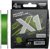 Шнур Favorite X1 PE 4x 150m (l.green) #1.0/0.165mm 19lb/8.7kg
